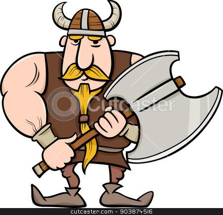 viking cartoon illustration stock vector clipart, Cartoon Illustration of Viking or Knight with Axe by Igor Zakowski