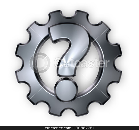 cogwheel quest stock photo, gear wheel and question mark  - 3d illustration by J?