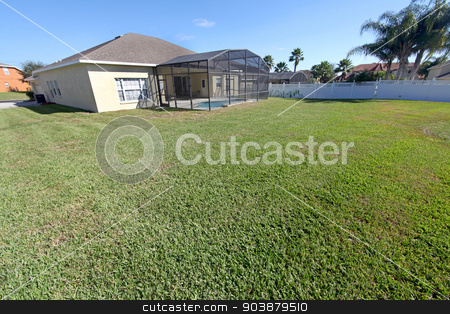 Yard stock photo, A large yard of a home in Florida by Lucy Clark