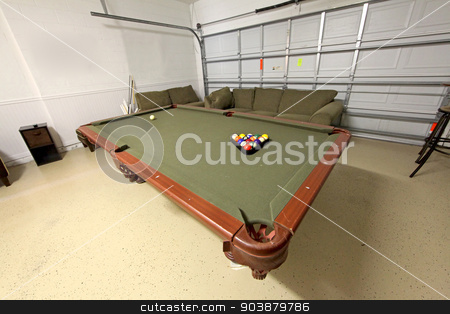 Pool Table stock photo, A pool table with balls in a home by Lucy Clark
