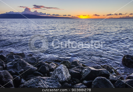 Maui Sunset at Shore stock photo, Beautiful Maui sunset with water on shore rocks by Scott Griessel