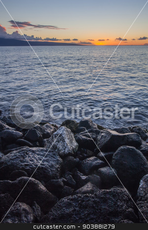 Big Rocks on Maui Beach stock photo, Rocks on beach during sunset in Hawaii by Scott Griessel