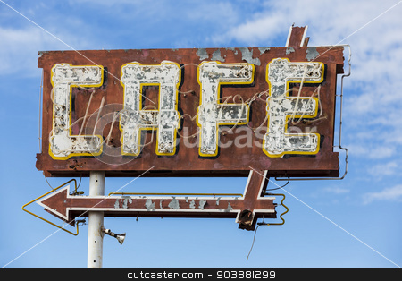 Vintage Cafe Sign stock photo, Vintage restaurant sign with paint and neon by Scott Griessel