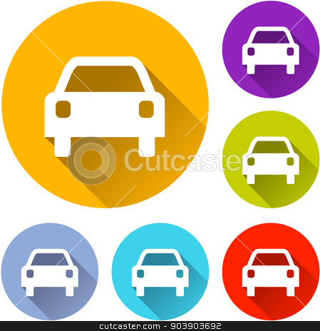 car icons stock vector clipart, vector illustration of six colorful car icons by Nickylarson974