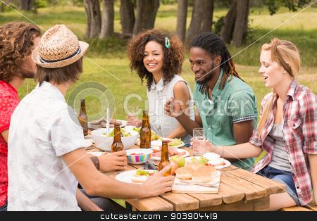 Happy friends in the park having lunch stock photo, Happy friends in the park having lunch on a sunny day by Wavebreak Media
