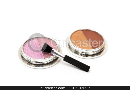 different colored makeup brush stock photo, stains of different colors on a white background by Arnau Ramos Oviedo