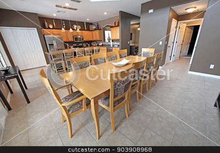 Kitchen and Dining Area stock photo, A Kitchen and Dining Area in a Home by Lucy Clark
