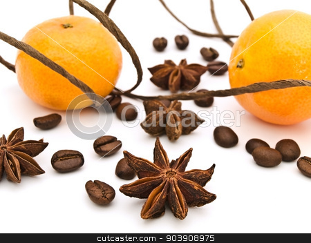 Mandarins stock photo, Decoration With Mandarins, Anise Stars And Coffee Beans Against White Background by Sergej Razvodovskij