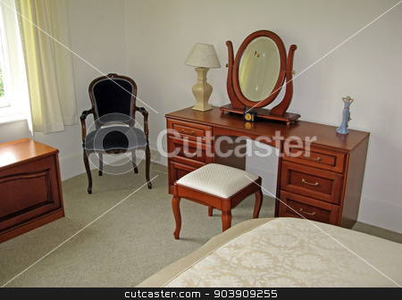 Dressing Table stock photo, Dressing Table in a bedroom in an old home by Lucy Clark