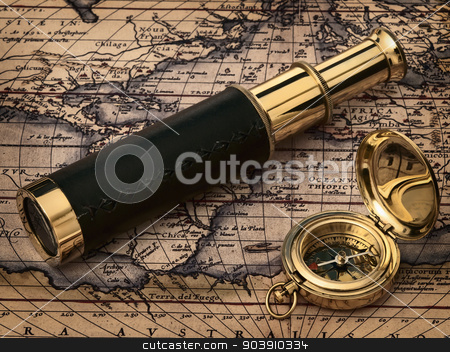 vintage telescope and compass at antique map stock photo, travelling theme: vintage telescope and compass at antique map by Sergej Razvodovskij