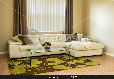 Cozy living room in olive green colors stock photo, Cozy living room, modern white leather sofa, glass table, modern rug with green-brown pattern, curtains, pillows by Natalia Banegas