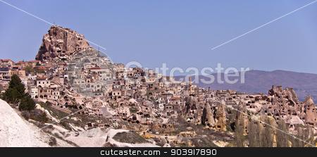 Hillside Homes in Cappadocia Turkey. stock photo, Homes built of stone on the hillside in Cappadocia Turkey. by Scott Griessel
