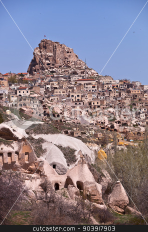 Homes on a Hillside in Cappadocia Turkey stock photo, Hillside with homes made of stone in Cappadocia Turkey by Scott Griessel