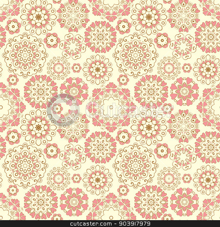 Seamless Pattern stock vector clipart, Vector Seamless Pattern with ornaments and hearts by Miroslava Hlavacova