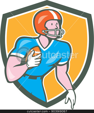 American Football Player Rusher Shield Retro stock vector clipart, Illustration of an american football gridiron player holding ball rusher running looking to the side set inside shield crest on isolated background done in cartoon style.  by patrimonio