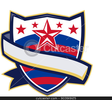 Shield With Stars and Stripes Ribbon stock vector clipart, Illustration of a shield with stars and stripes and ribbon scroll in front. by patrimonio