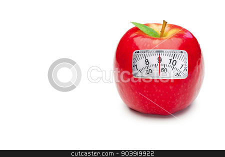 Composite image of weighing scales stock photo, weighing scales against red apple by Wavebreak Media
