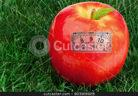 Composite image of weighing scales stock photo, weighing scales against red apple with a leaf on grass by Wavebreak Media