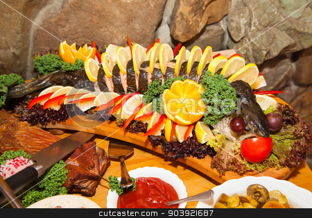 Lot of food on the table stock photo, Lot of different food on the table by Ryszard Sarama