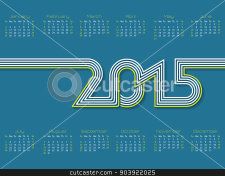Calendar with striped 2015 text stock vector clipart, New calendar design with striped 2015 text by Mihaly Pal Fazakas