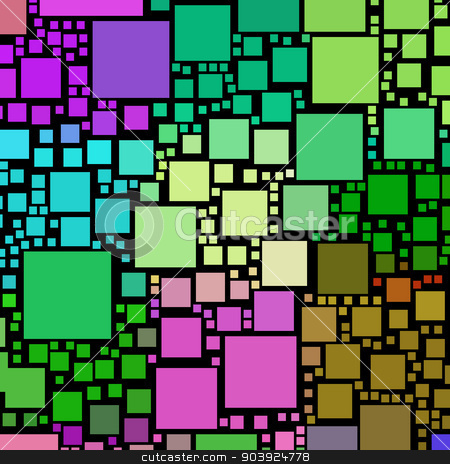Colorful square shapes on a black background. stock photo, Colorful square shapes on a black background. by Stephen Rees