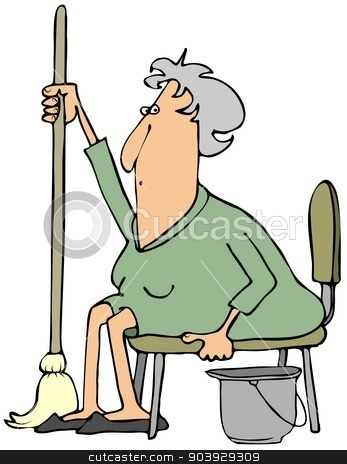 Woman with a mop stock photo, This illustration depicts an elderly woman sitting in a chair holding a mop with a bucket by her side. by Dennis Cox