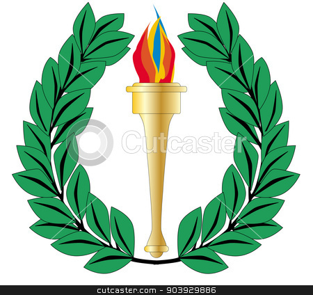 Olympic Wreath stock vector clipart, A crown of olives and an olympic torch all isolated on a white background by Kotto