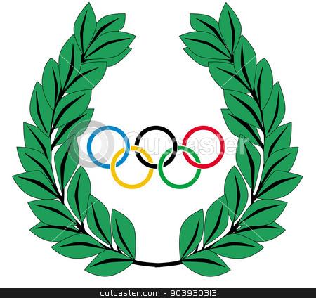 Olympic Wreath stock vector clipart, A crown of olives and the Olympic rings all isolated on a white background by Kotto