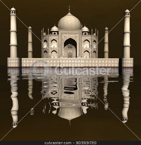 Taj Mahal mausoleum, Agra, India - 3D render stock photo, Famous Taj Mahal mausoleum and its mirror reflection by day, Agra, India by Elenarts