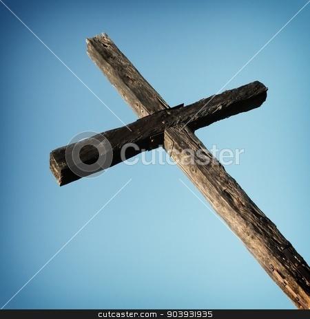 Ventura Cross stock photo, Closeup of the cross up on the hill in Ventura California. by Henrik Lehnerer