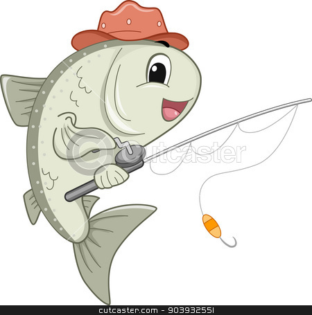 Salmon Mascot stock photo, Mascot Illustration Featuring a Mascot Holding a Fishing Reel by BNP