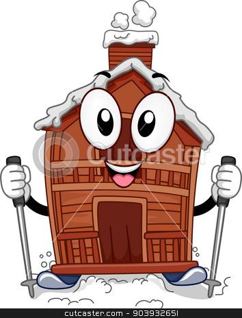 Ski Lodge Mascot stock photo, Mascot Illustration Featuring a Ski Lodge by BNP