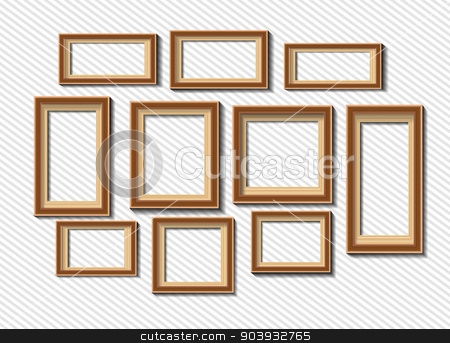 Set of white photo frames on grey background stock vector clipart, Set of white photo frames isolated on grey background by T-flex