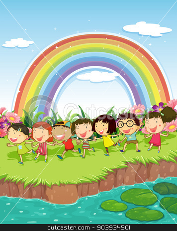 Children playing outside stock vector clipart, Children playing beside a river by Matthew Cole