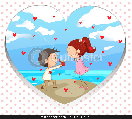 Valentine stock vector clipart, Illustration of a couple proposing  by Matthew Cole