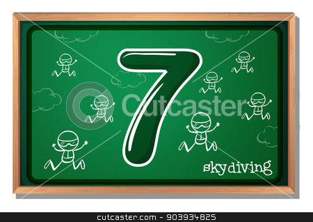 Number 7 stock vector clipart, Illustration of a flashcard number seven by Matthew Cole