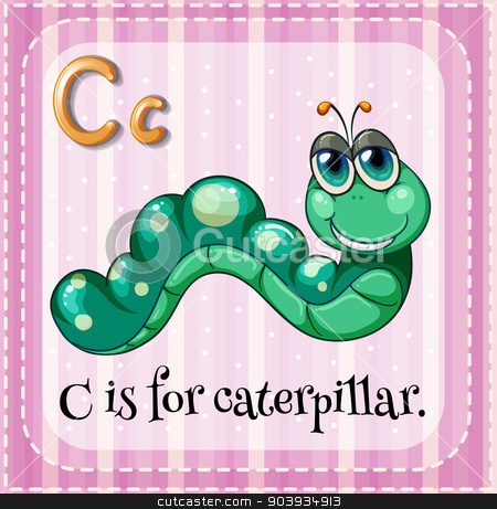 Letter C stock vector clipart, Illustration of a letter C is for caterpillar by Matthew Cole