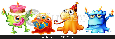 Monsters stock vector clipart, Illustration of many monsters with gift and cake by Matthew Cole