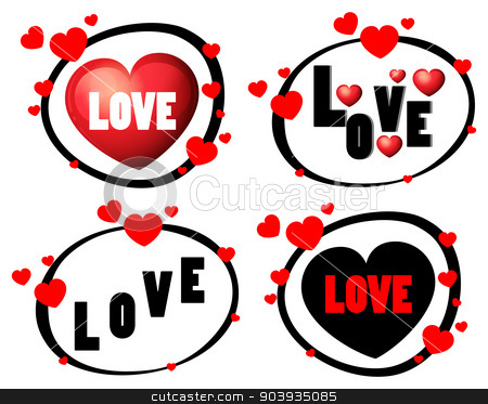 Love stock vector clipart, Illustration of four design of love signs by Matthew Cole