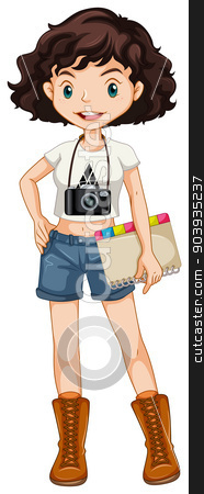 Girl hipster stock vector clipart, Single hipster girl standing by Matthew Cole