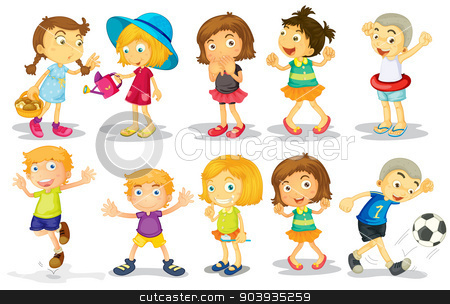 Children stock vector clipart, Illustration of many children doing activities by Matthew Cole