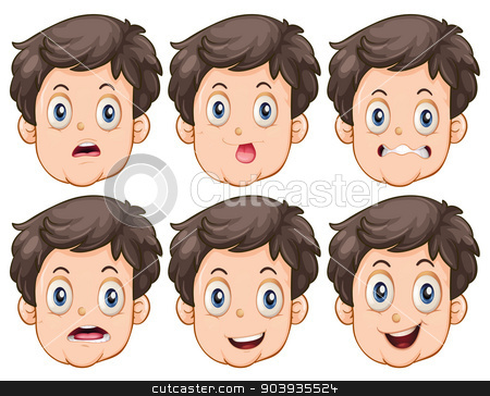 Faces stock vector clipart, Different facial expressions of the man by Matthew Cole