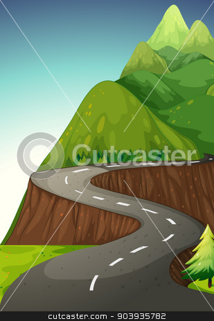 Road stock vector clipart, Road to the mountain by Matthew Cole
