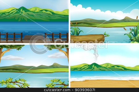 Lakes stock vector clipart, Illustration of four different scene of lakes by Matthew Cole