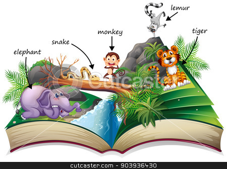 Animal book stock vector clipart, Illustration of a popup story book with many animals by Matthew Cole