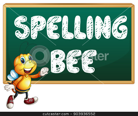 Spelling bee stock vector clipart, Illustration of a bee flying in front of a board by Matthew Cole