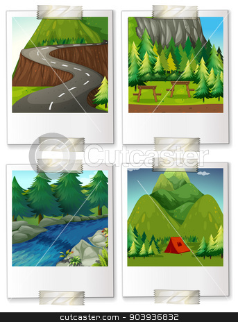 Campsites stock vector clipart, four pictures of camping scenes by Matthew Cole