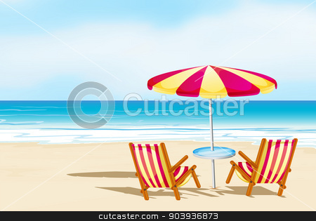 Beachsand stock vector clipart, Illustration of beach view with seats and umbrella by Matthew Cole