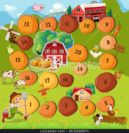 Boardgame stock vector clipart, Illustration of a boardgame with farm scene by Matthew Cole