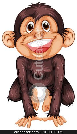 Chimpanzee stock vector clipart, Illustration of a single chimpanzee by Matthew Cole